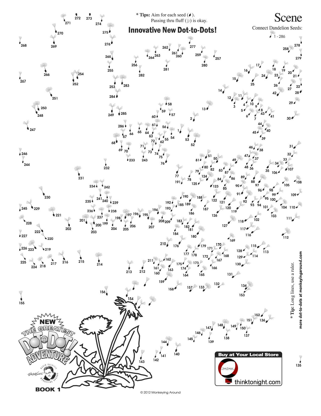 Printable Adult Connect the Dots Downloadable Dot to Dot Puzzles
