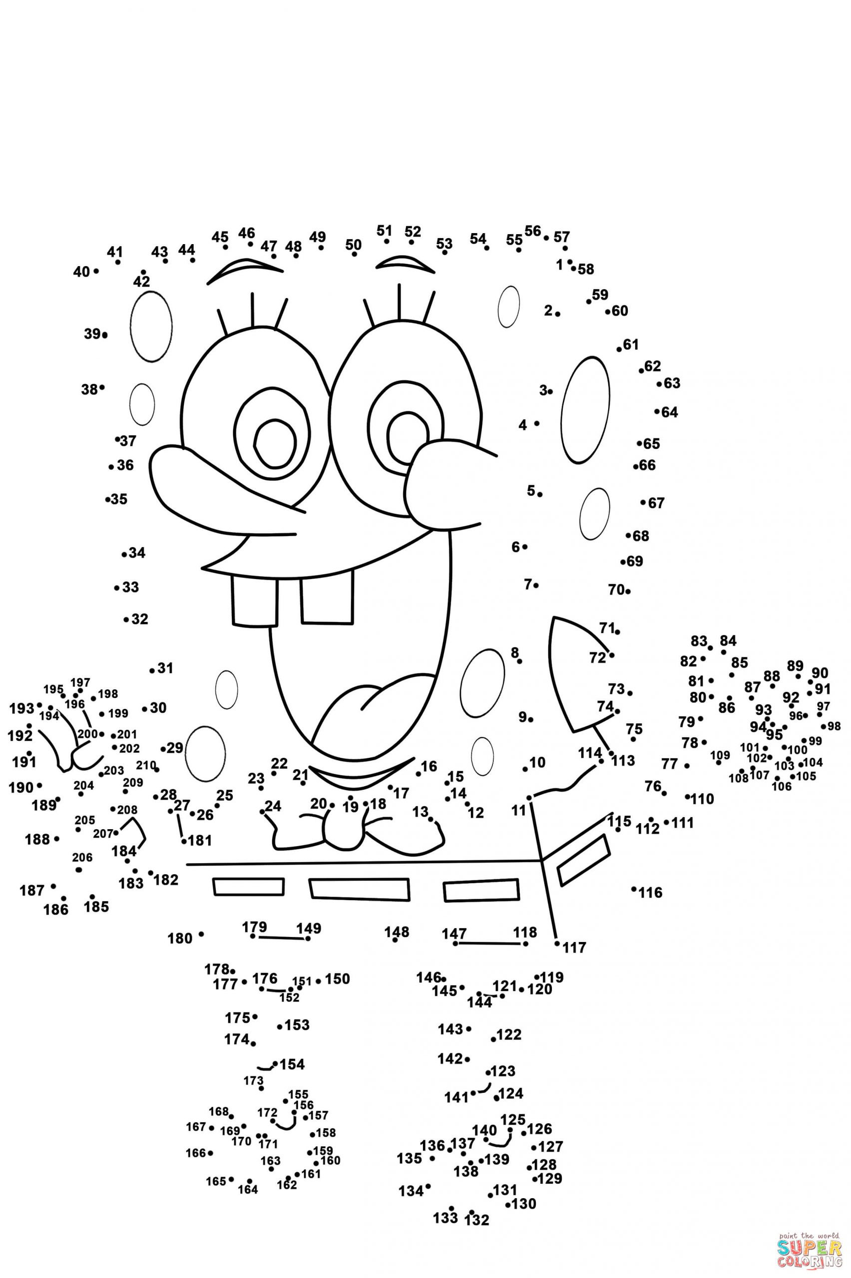 Printable Adult Connect the Dots Spongebob Dot to Printable Hardsheets and Coloring Pages