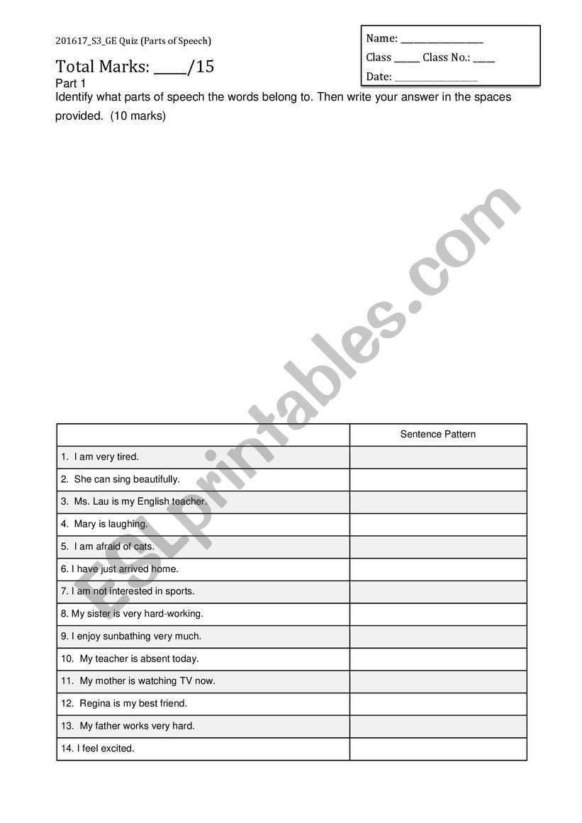 Printable State Capital Quiz Part Of Speech Quiz Printable that are Influential