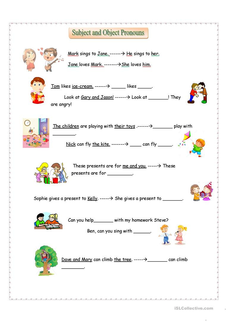 Pronoun Worksheet for 2nd Grade Subject and Object Pronouns English Esl Worksheets for