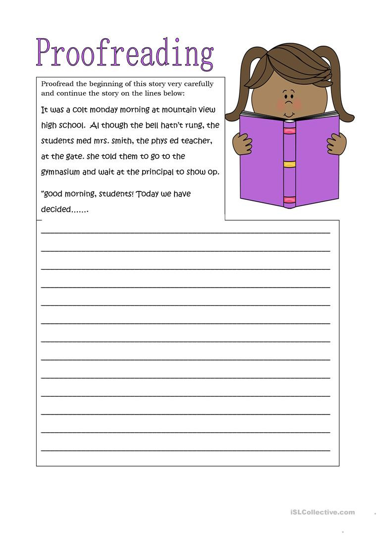 Proofreading Worksheets High School Proofreading D Continue the Story English Esl