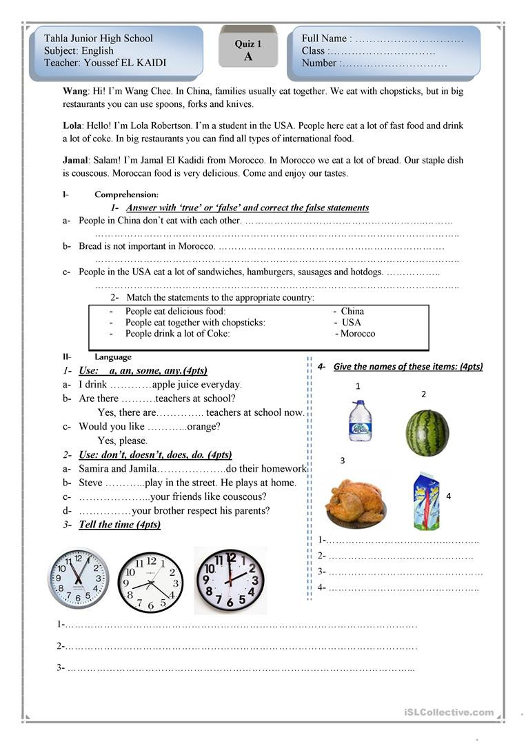 Proofreading Worksheets Middle School English Test for Beginners English Esl Worksheets for