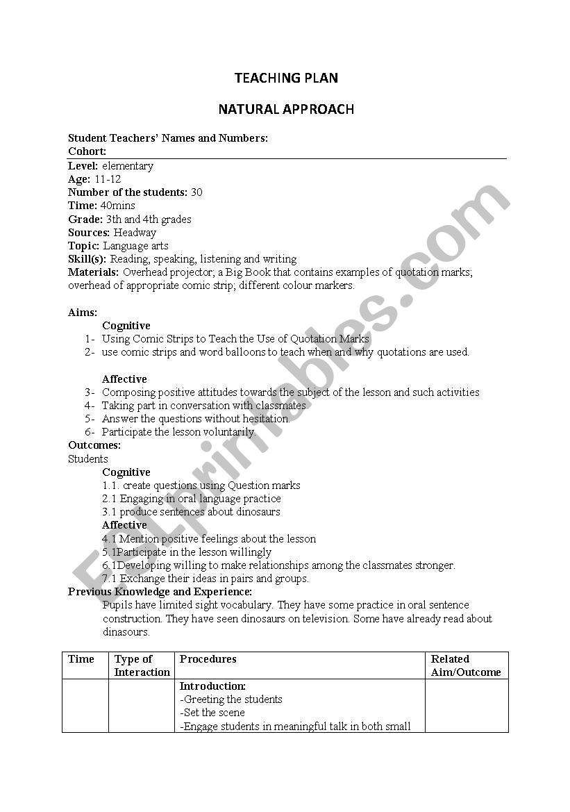 Quotation Worksheets 4th Grade English Worksheets Lesson Plan Natural Approach