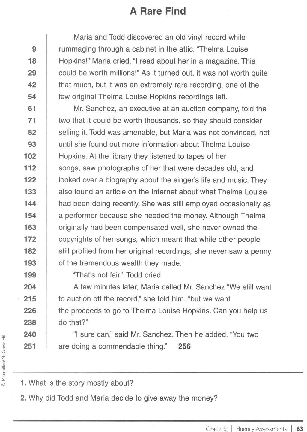 Reading Comprehension Worksheets 6th Grade 6th Fluency Passage 10 1024—1440