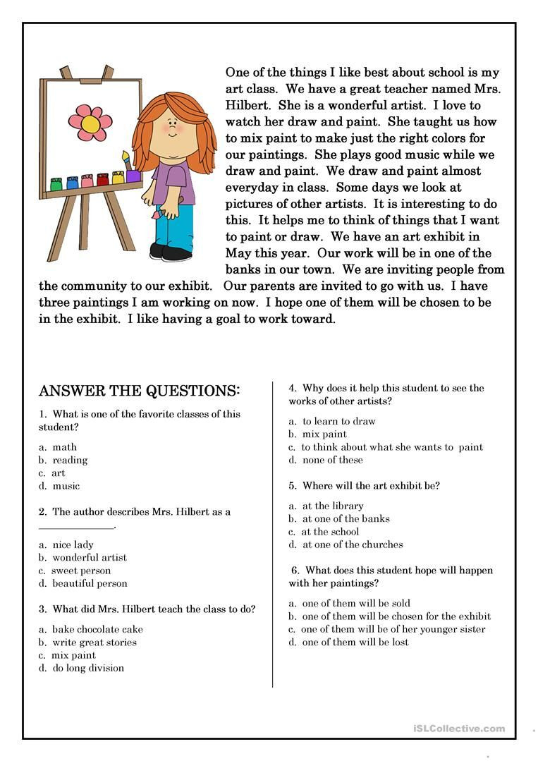 Reading Comprehension Worksheets 6th Grade Reading Prehension for Beginner and Elementary Students 5