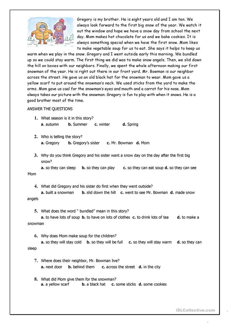Reading Comprehension Worksheets 6th Grade Reading Prehension for Beginner and Elementary Students