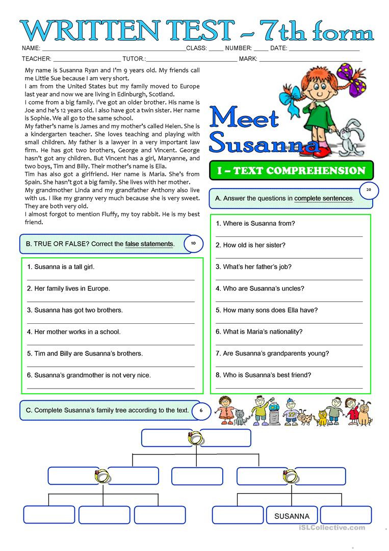 Reading Comprehension Worksheets 7th Grade Susanna S Family 3 Page Test 7th Grade English Esl