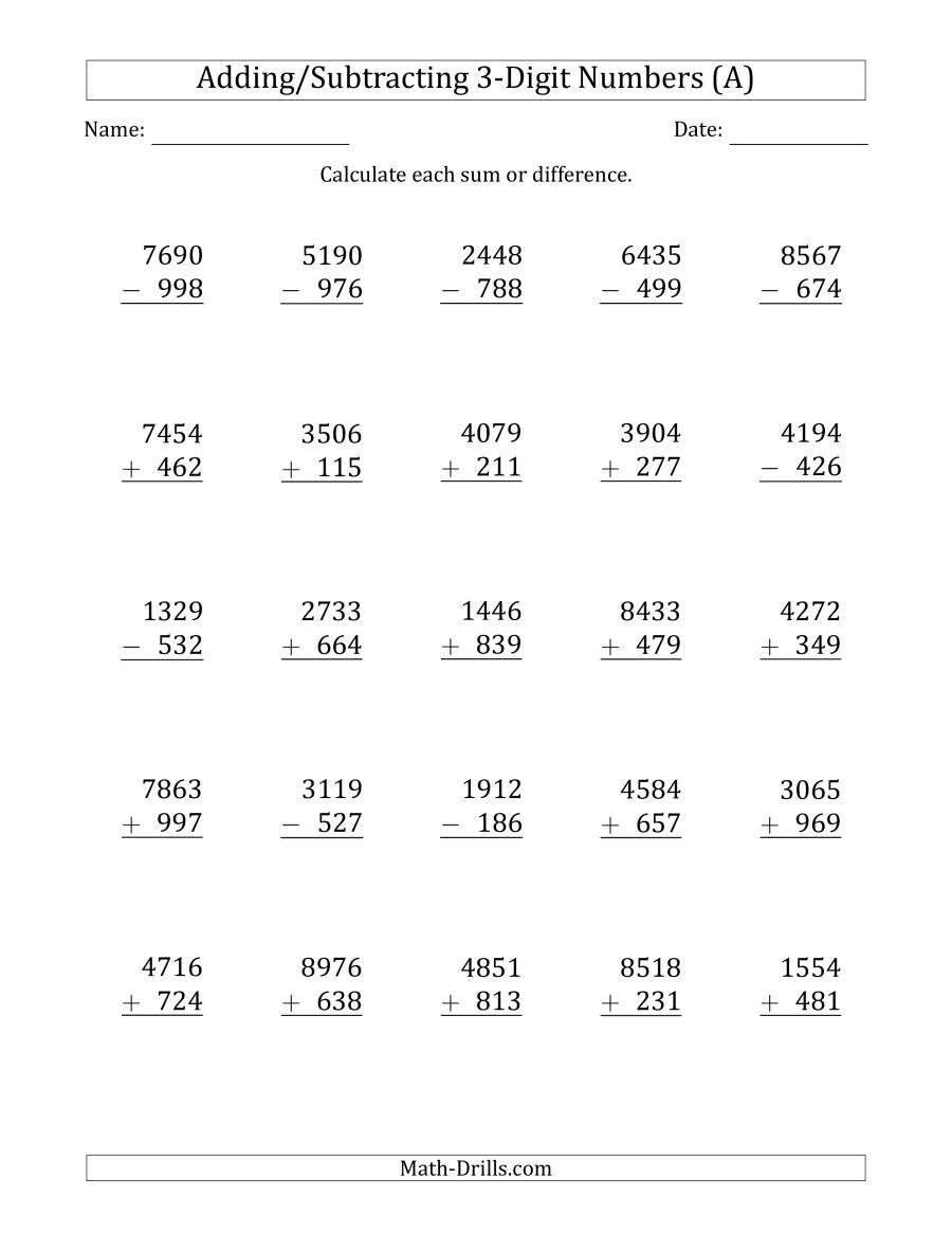 Regrouping Subtraction Worksheets 3rd Grade Digit Plus Minus Addition and Subtraction with some Math