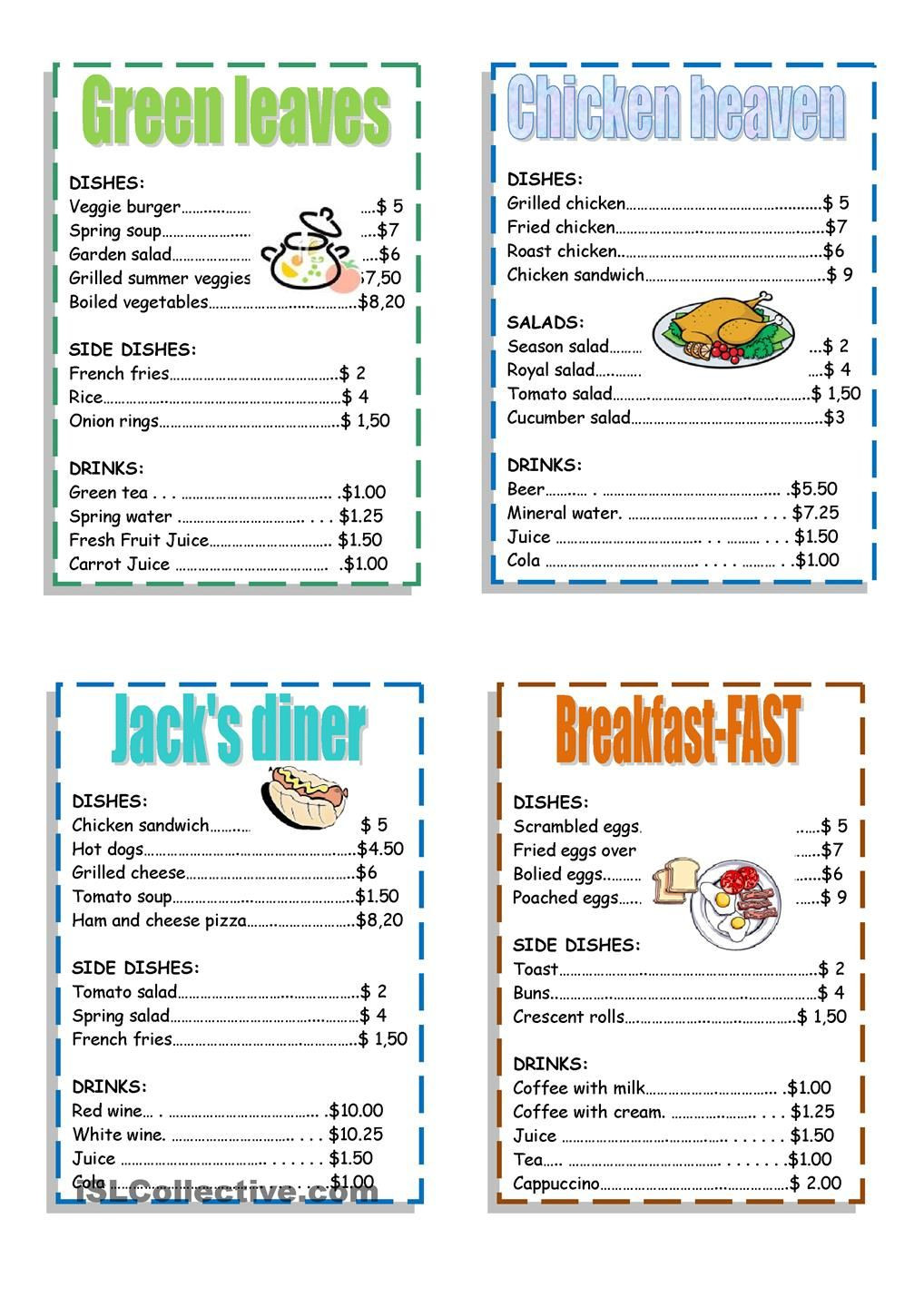 Restaurant Math Worksheets Pin by Tatyana toulchinsky On Elt Conversations Discussions