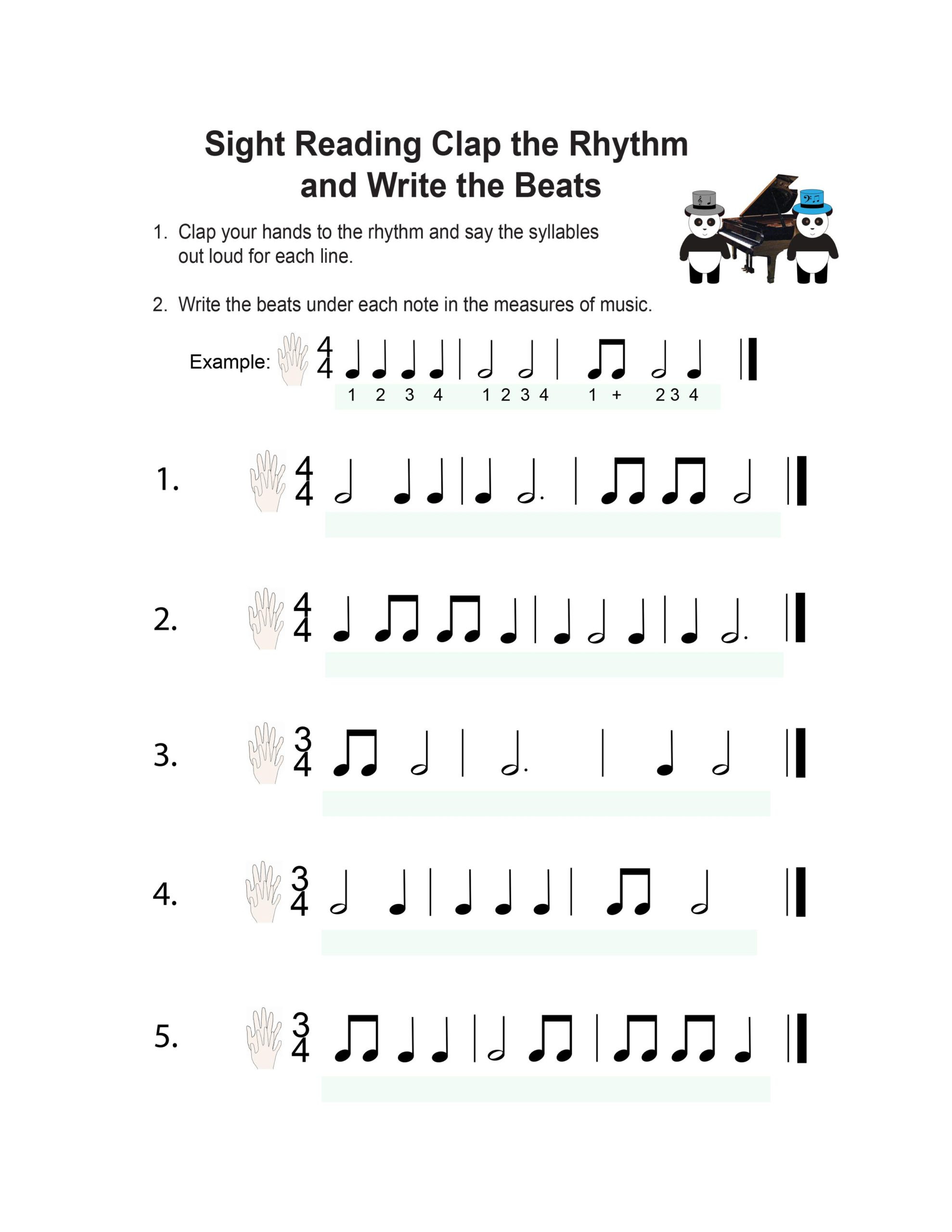 Rhythm Worksheets for Middle School Book Piano Lesson Music Worksheets Pandastic Designs