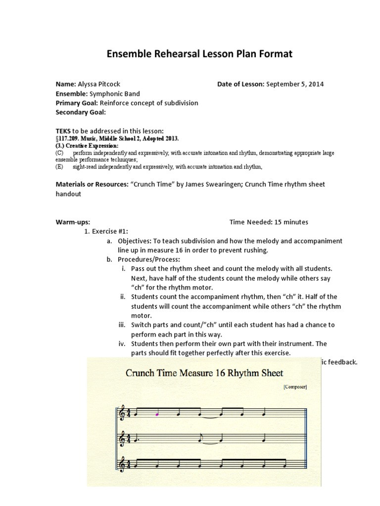 Rhythm Worksheets for Middle School Secondary Lesson Plan 9 5 14 Rhythm