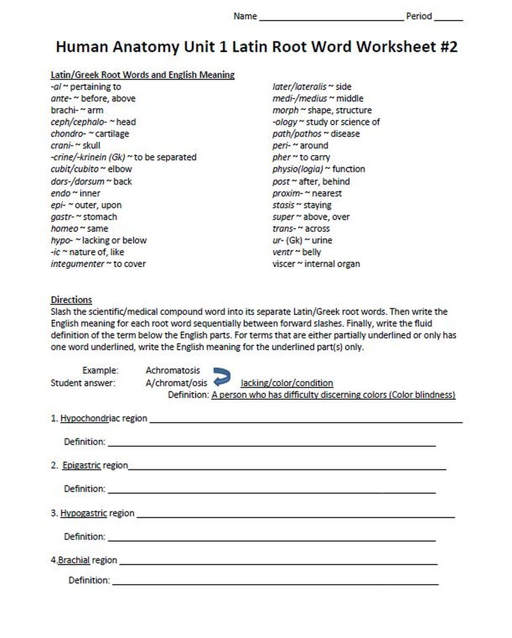 Root Word Worksheets Middle School Latin Root Word Worksheet Set for Unit E Human Anatomy & Physiology