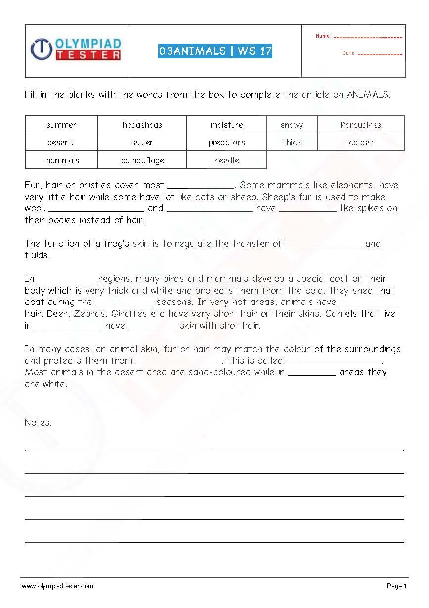 Science Fusion Grade 3 Worksheets National Science Olympiad Nso Class 3 Pdf Worksheet On