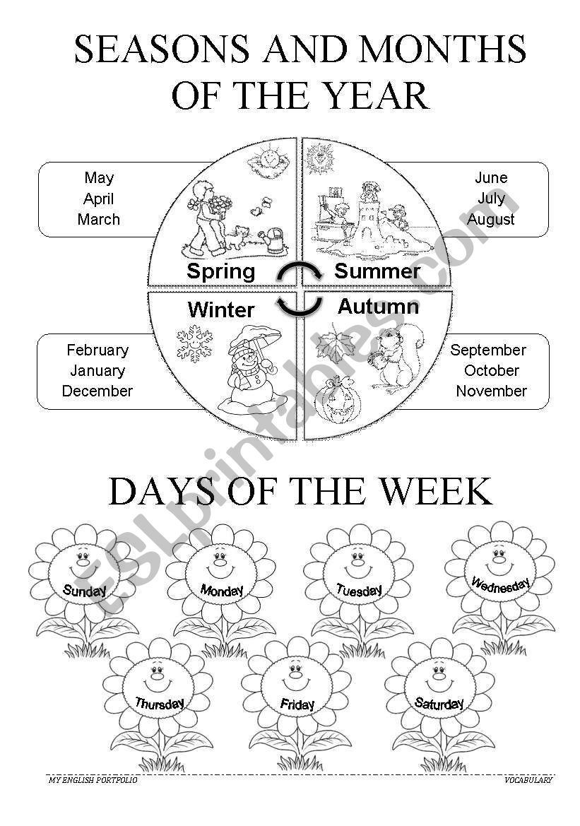 Seasons Worksheets for First Grade Children Can Learn the Seasons Months and Days while they