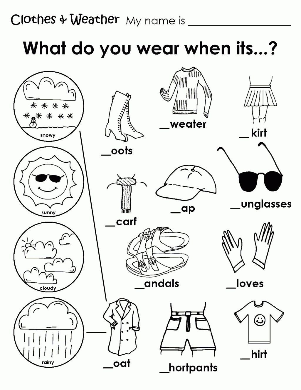 Seasons Worksheets for First Grade Printable Weather Clothes Worksheet