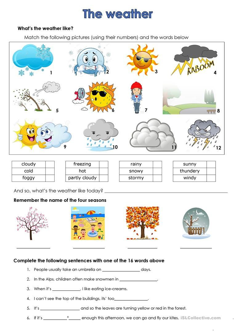 Seasons Worksheets for First Grade Weather