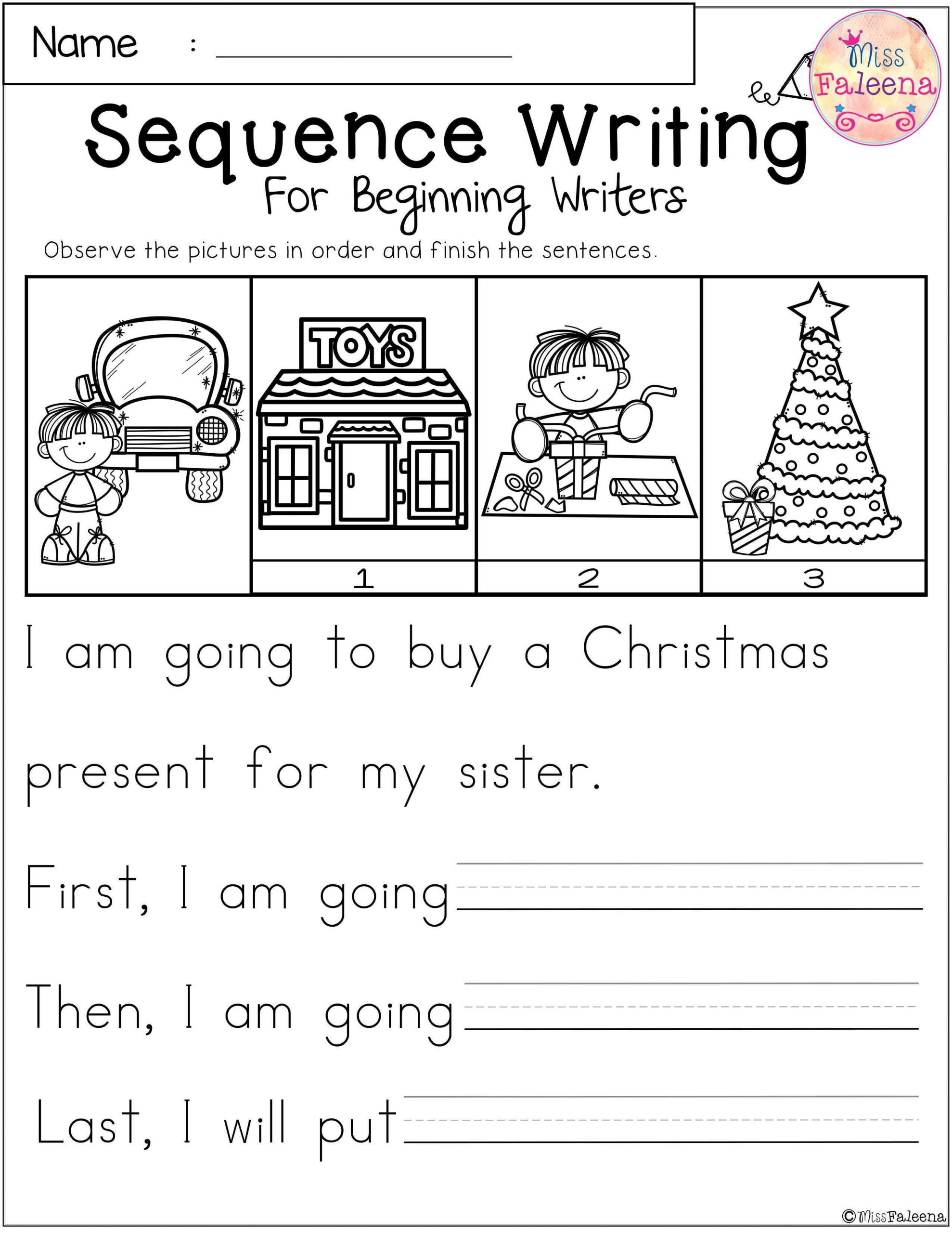 Sequence Worksheets 3rd Grade December Sequence Writing for Beginning Writers