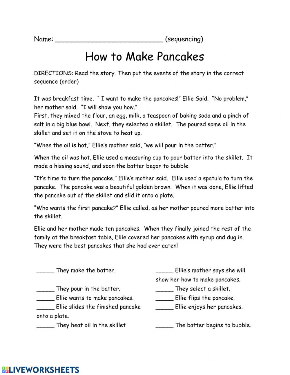 Sequence Worksheets 3rd Grade Sequence How to Make Pancakes Interactive Worksheet