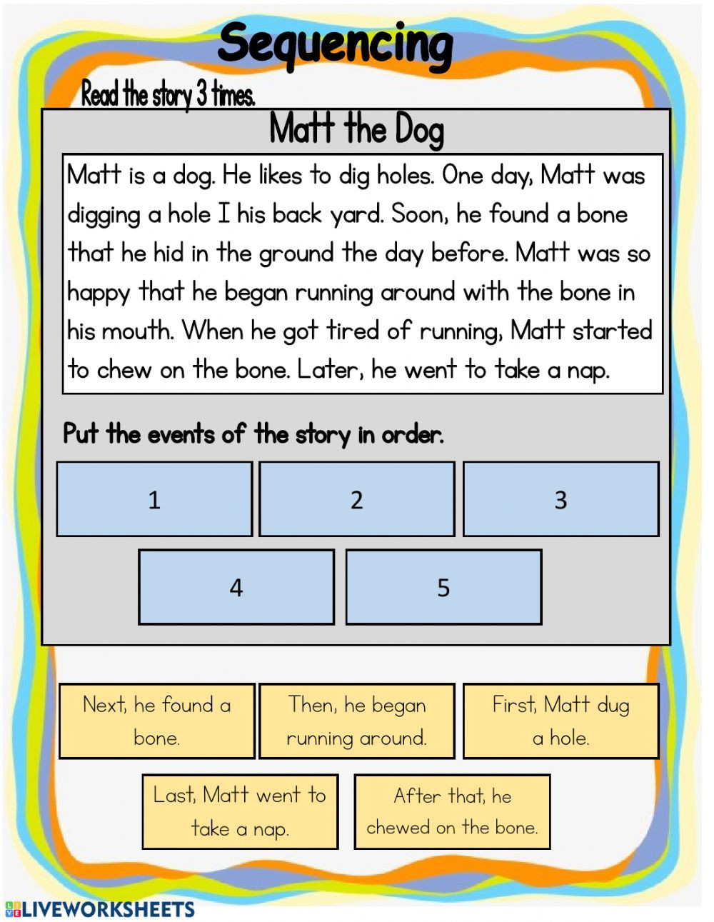 Sequence Worksheets 3rd Grade Sequencing Interactive Worksheet