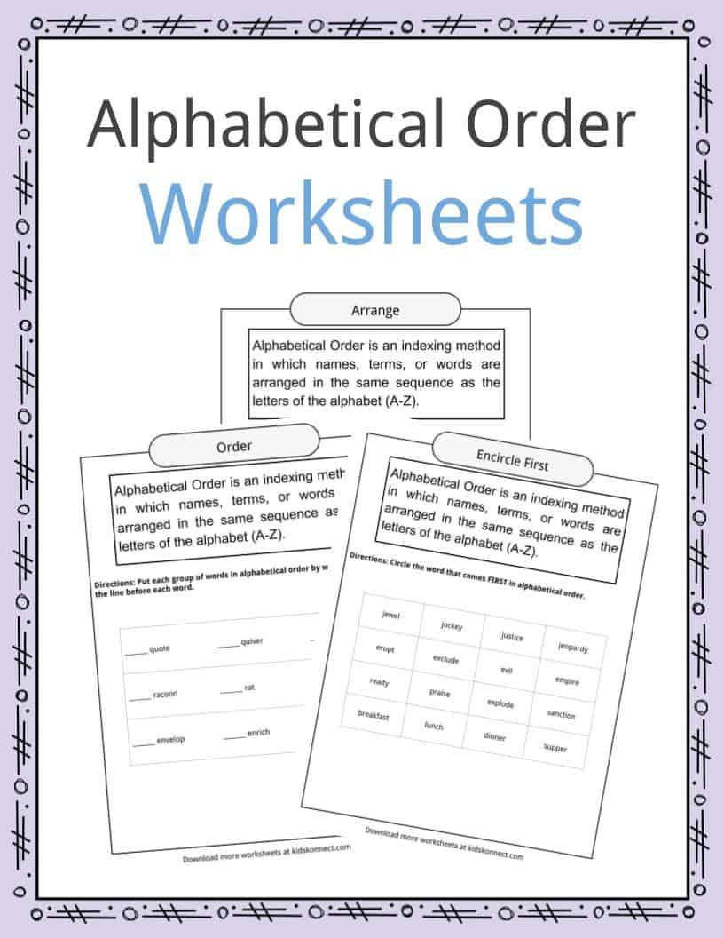 Sequence Worksheets 4th Grade Alphabetical order Worksheets Examples Definition