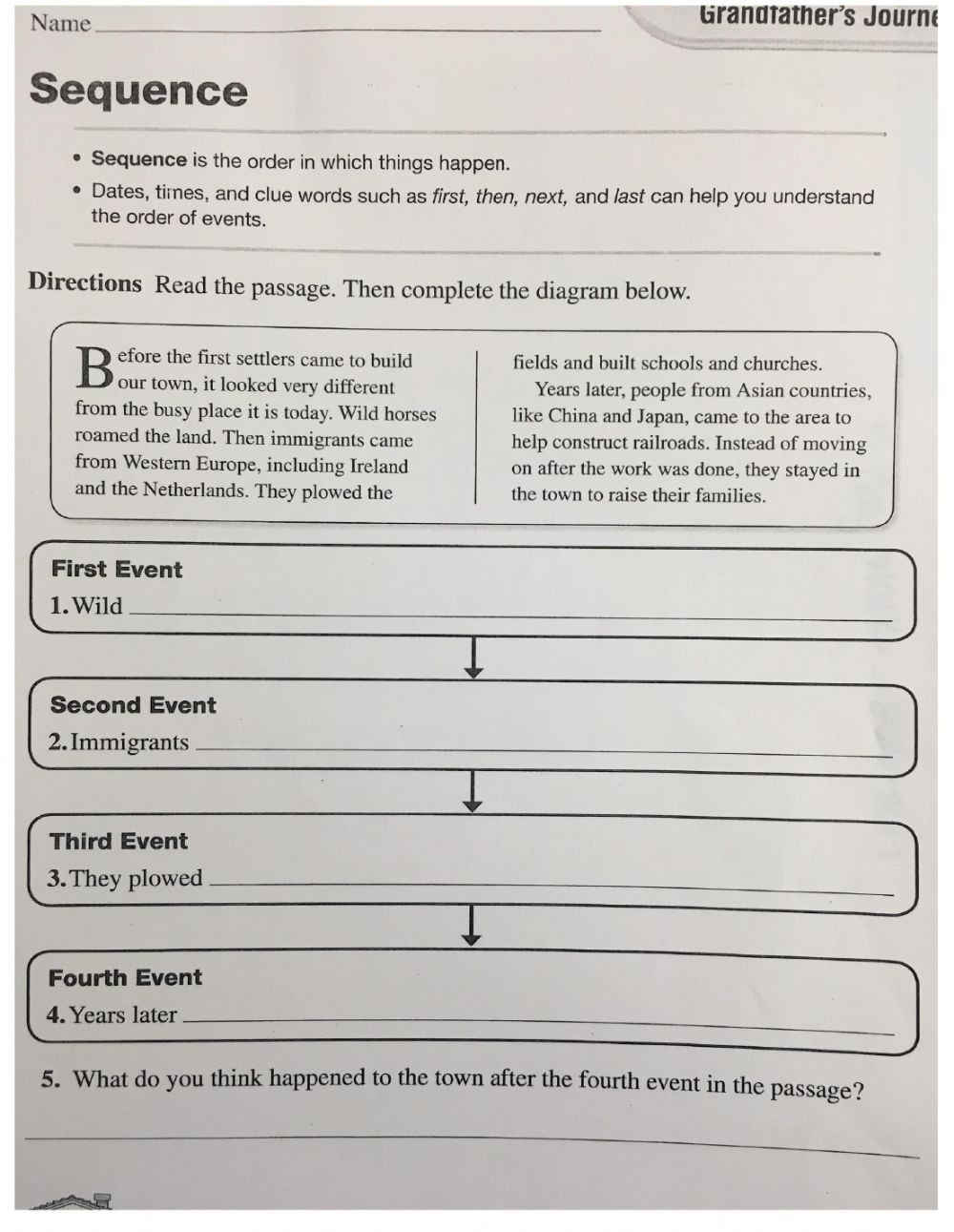 Sequence Worksheets 4th Grade Sequence 4th Grade Interactive Worksheet