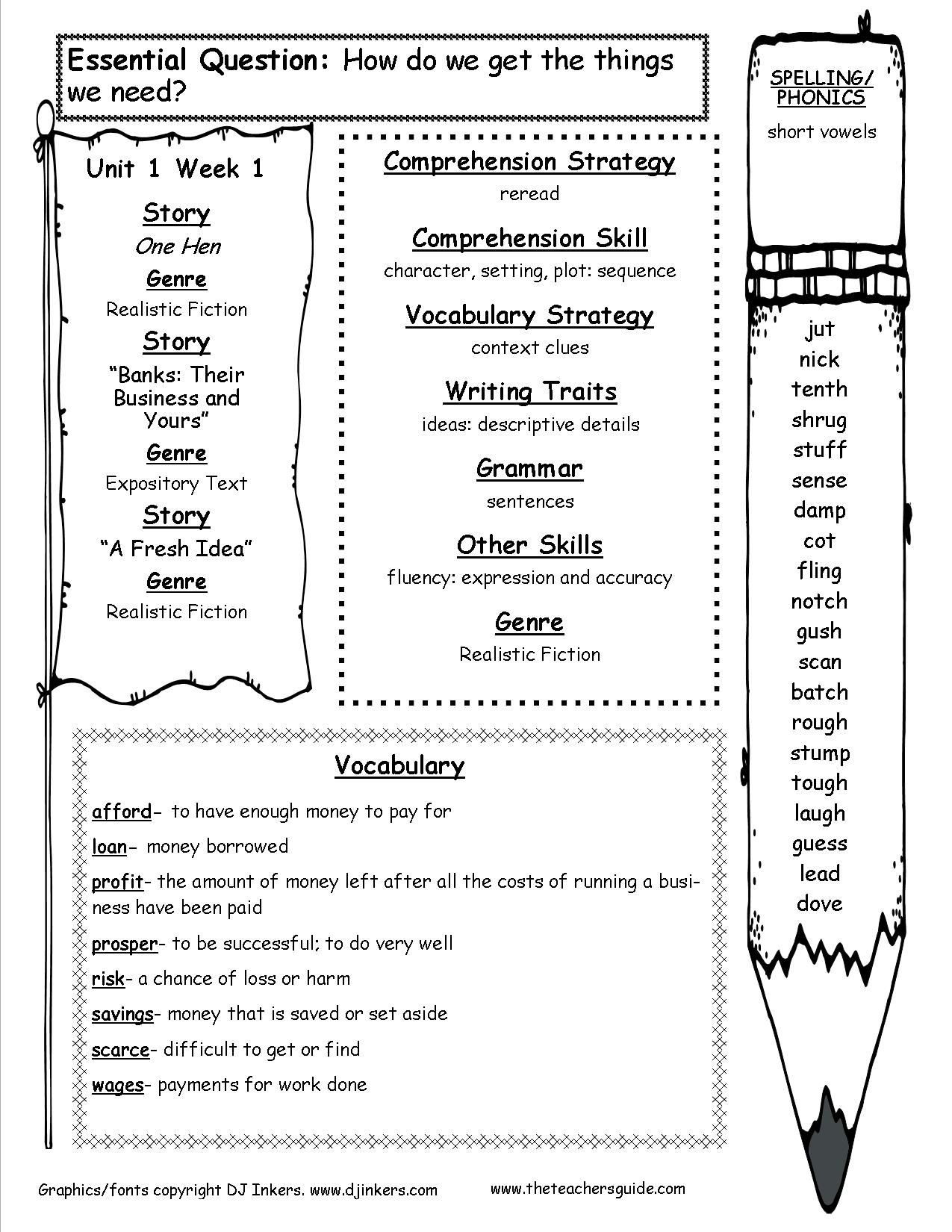 Sequence Worksheets 5th Grade Mcgraw Wonders Fifth Grade Resources and Printouts Third 5th