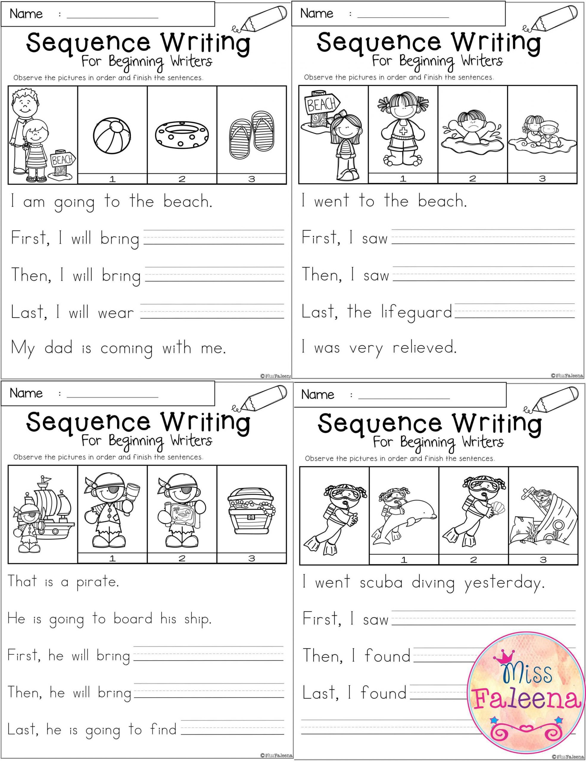 Sequence Worksheets for 1st Grade August Sequence Writing for Beginning Writers
