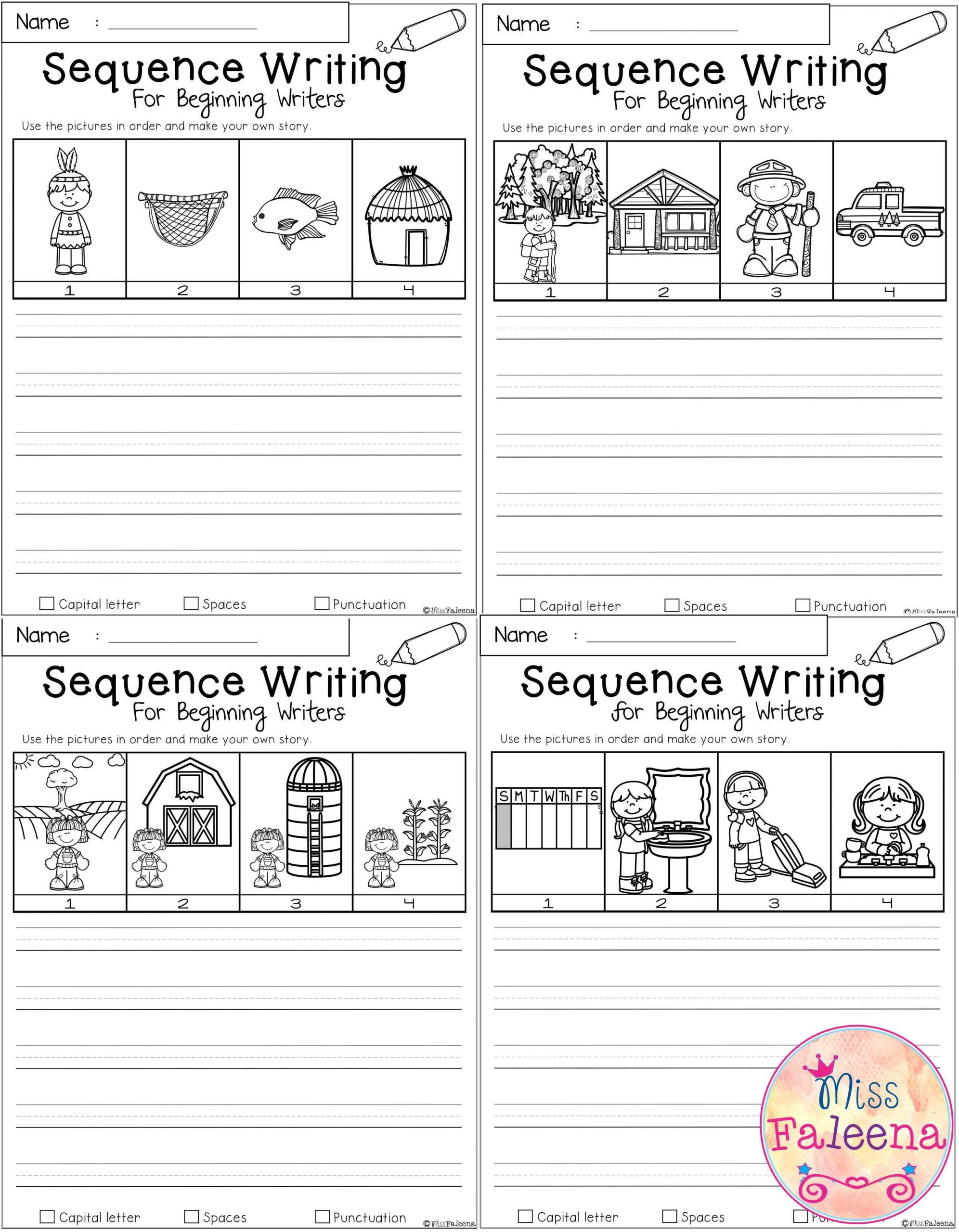 Sequence Worksheets for 1st Grade September Sequence Writing for Beginning Writers In 2020