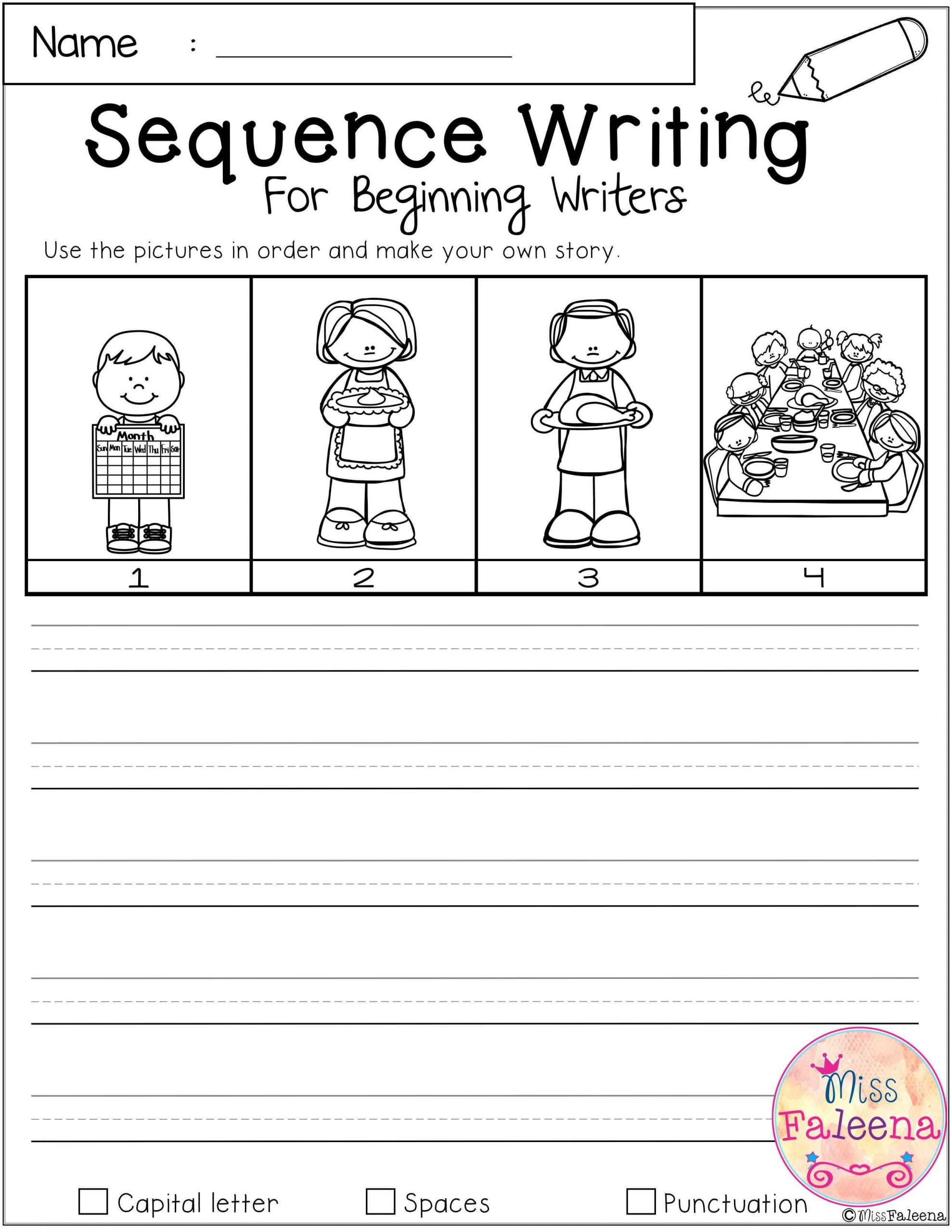 Sequence Worksheets for 3rd Grade November Sequence Writing for Beginning Writers