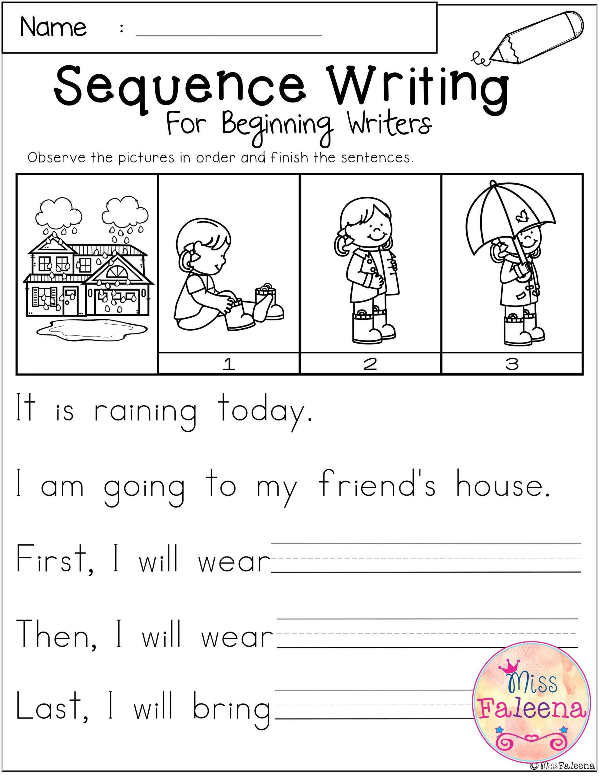 Sequencing Worksheet First Grade March Sequence Writing for Beginning Writers