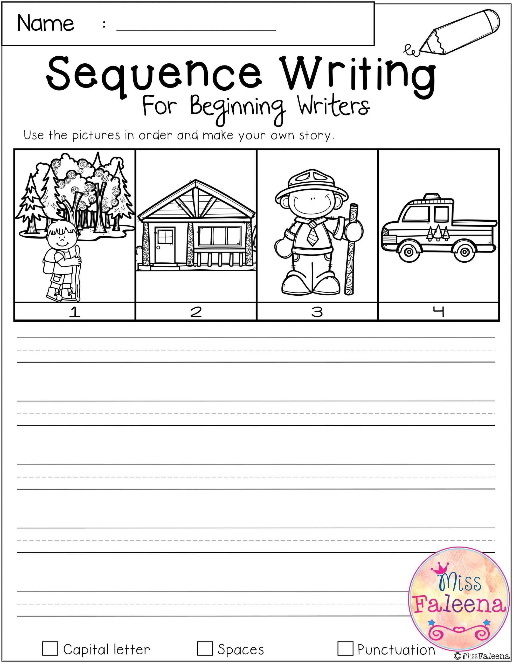 Sequencing Worksheets 4th Grade September Sequence Writing for Beginning Writers