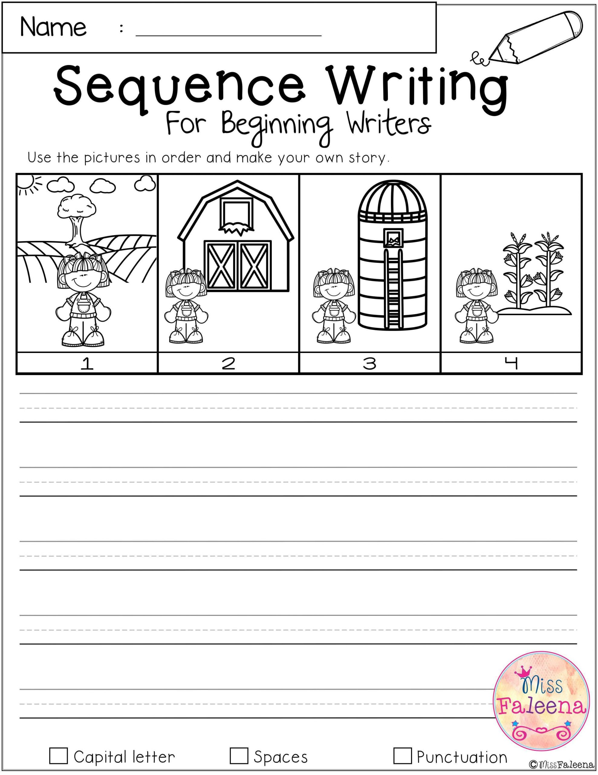 Sequencing Worksheets for Middle School Free Sequence Writing for Beginning Writers