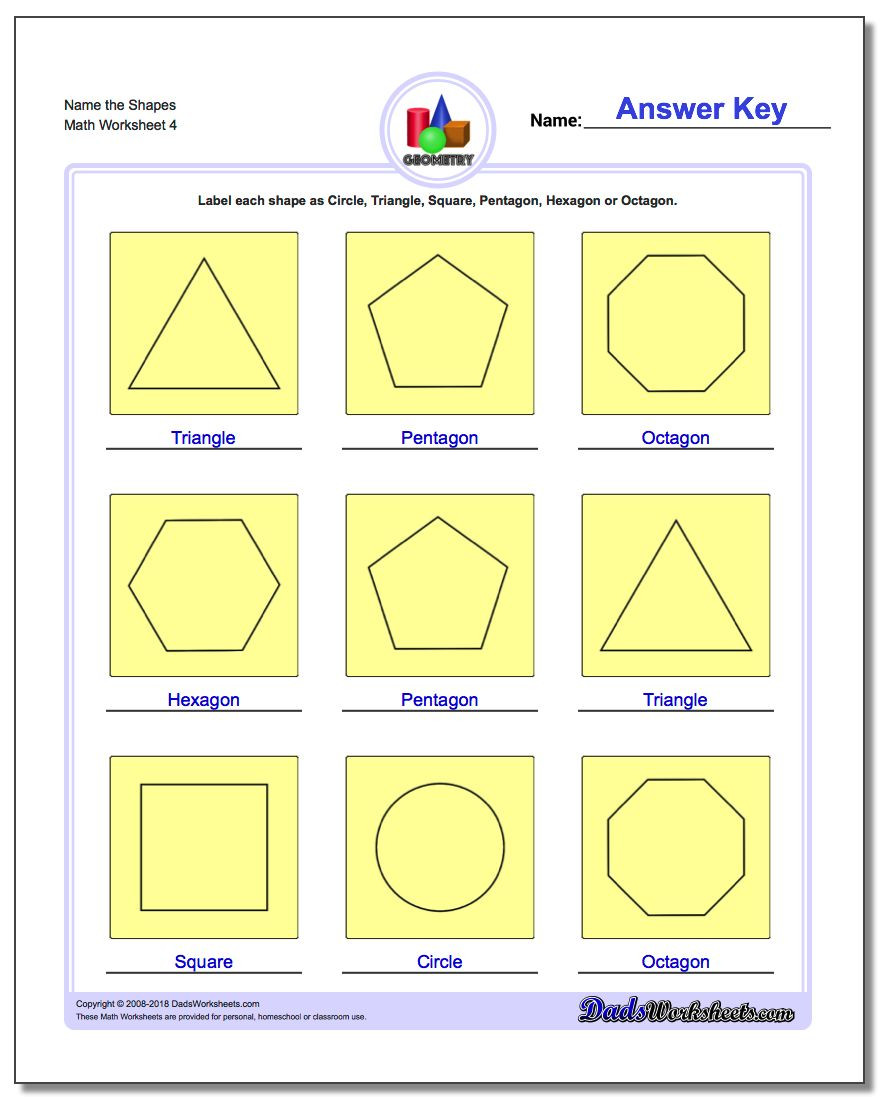 Shapes Worksheets 2nd Grade Basic Shapes