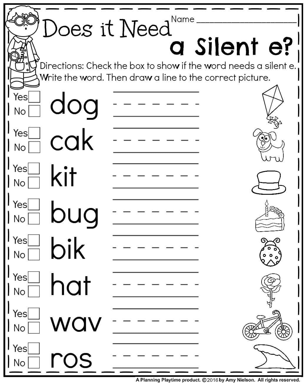Silent E Worksheets Grade 2 Pin On Activities