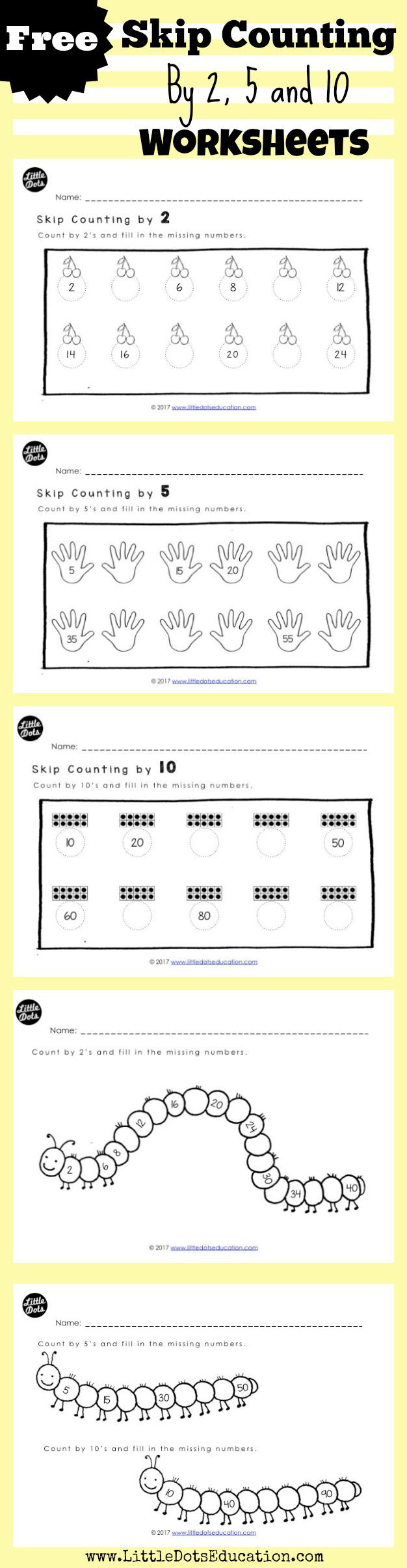 Skip Counting Worksheets First Grade Skip Count by 2 5 and 10 Worksheets for Kindergarten to