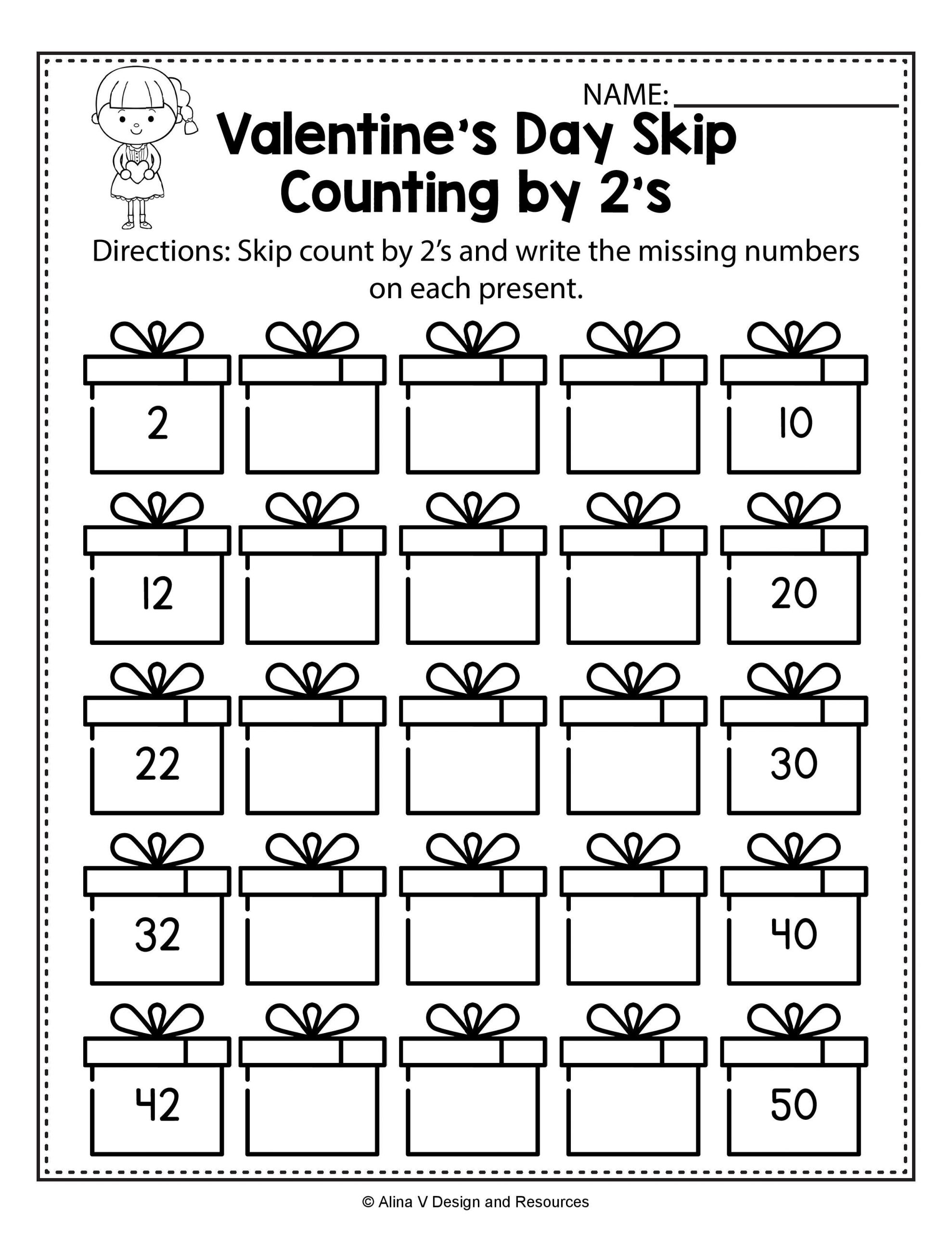 Skip Counting Worksheets First Grade Valentine S Day Skip Count by 2 S Math Worksheets and