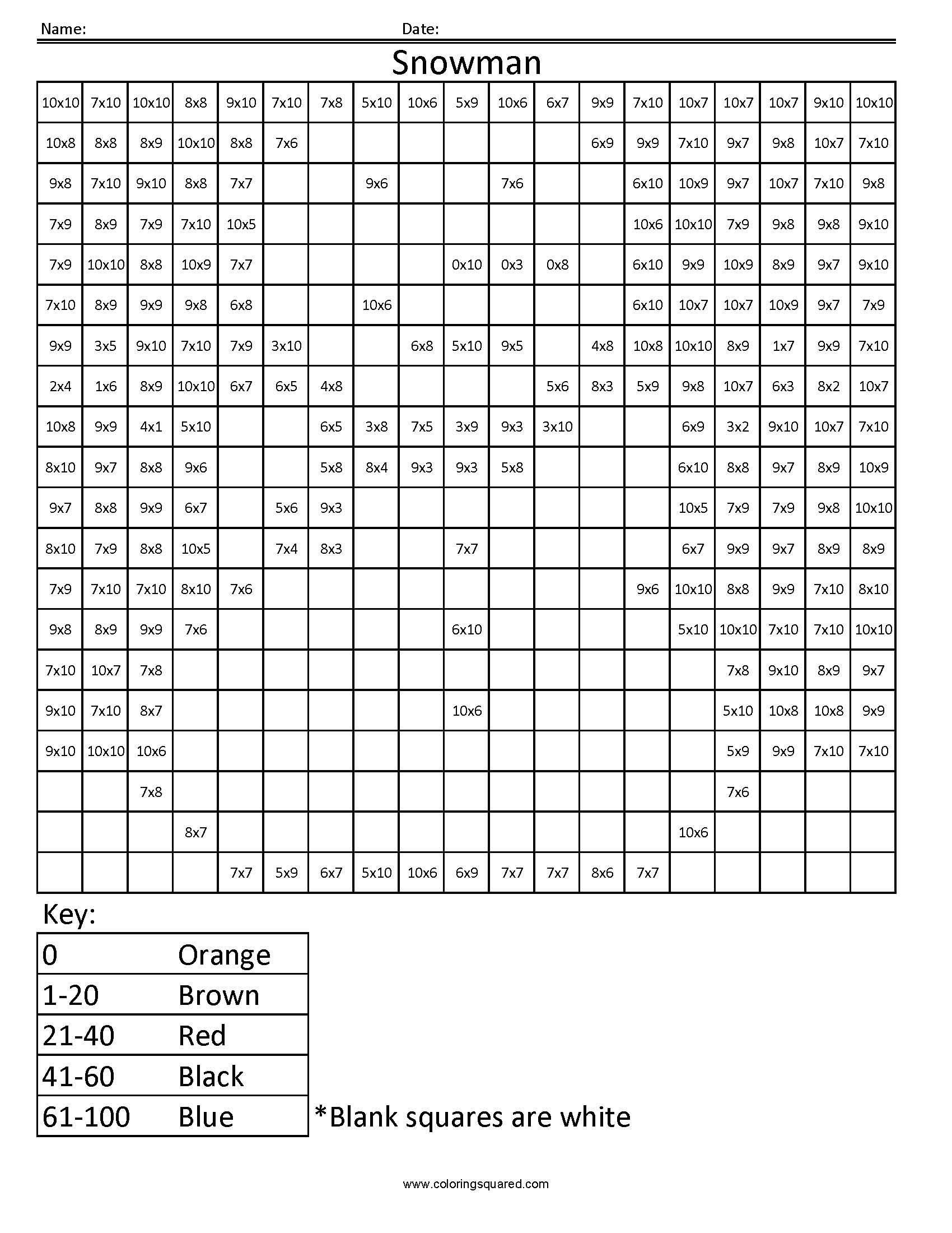 Snowman Math Worksheets Color by Number Multiplication Coloring Rocks Pages Snowman