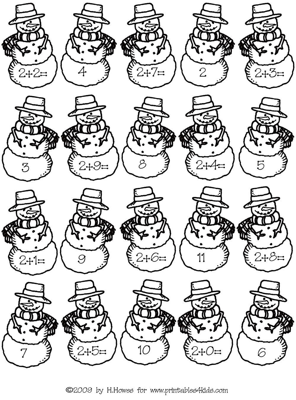 Snowman Math Worksheets Math Fact Families Addition by Twos