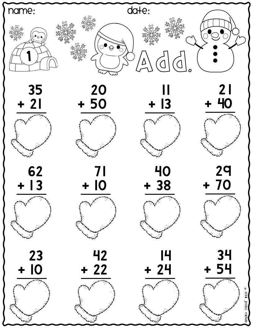 Snowman Math Worksheets Print & Go Two Digit Addition Printables Winter