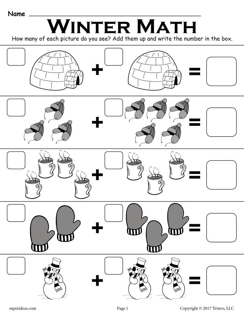 """Snowman Math Worksheets Winter themed """"addition with """" Math Worksheet"""