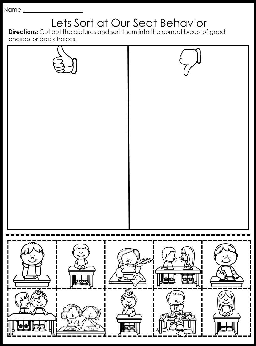 Sorting Worksheets for First Grade Behavior Picture sorts Classroommanagment Backtoschool