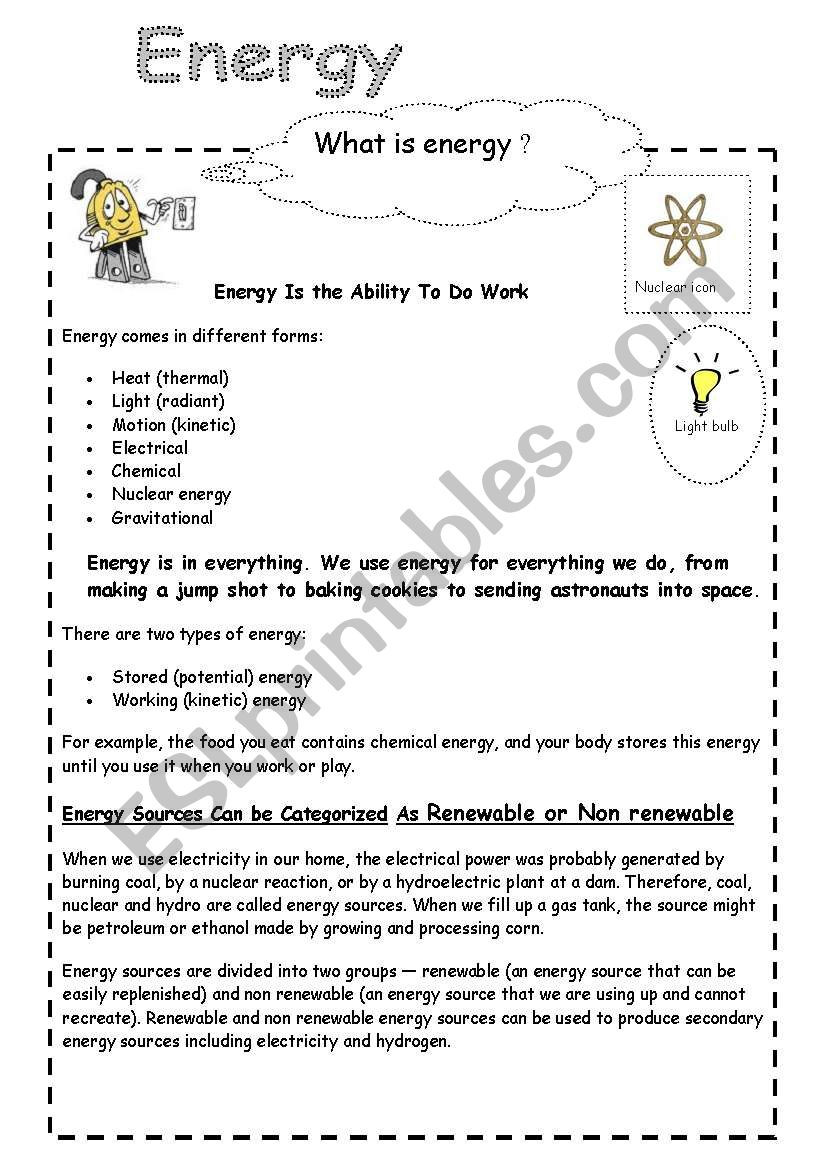 Sound Energy Worksheets 4th Grade Energy and Electricity Esl Worksheet by Cornelianes