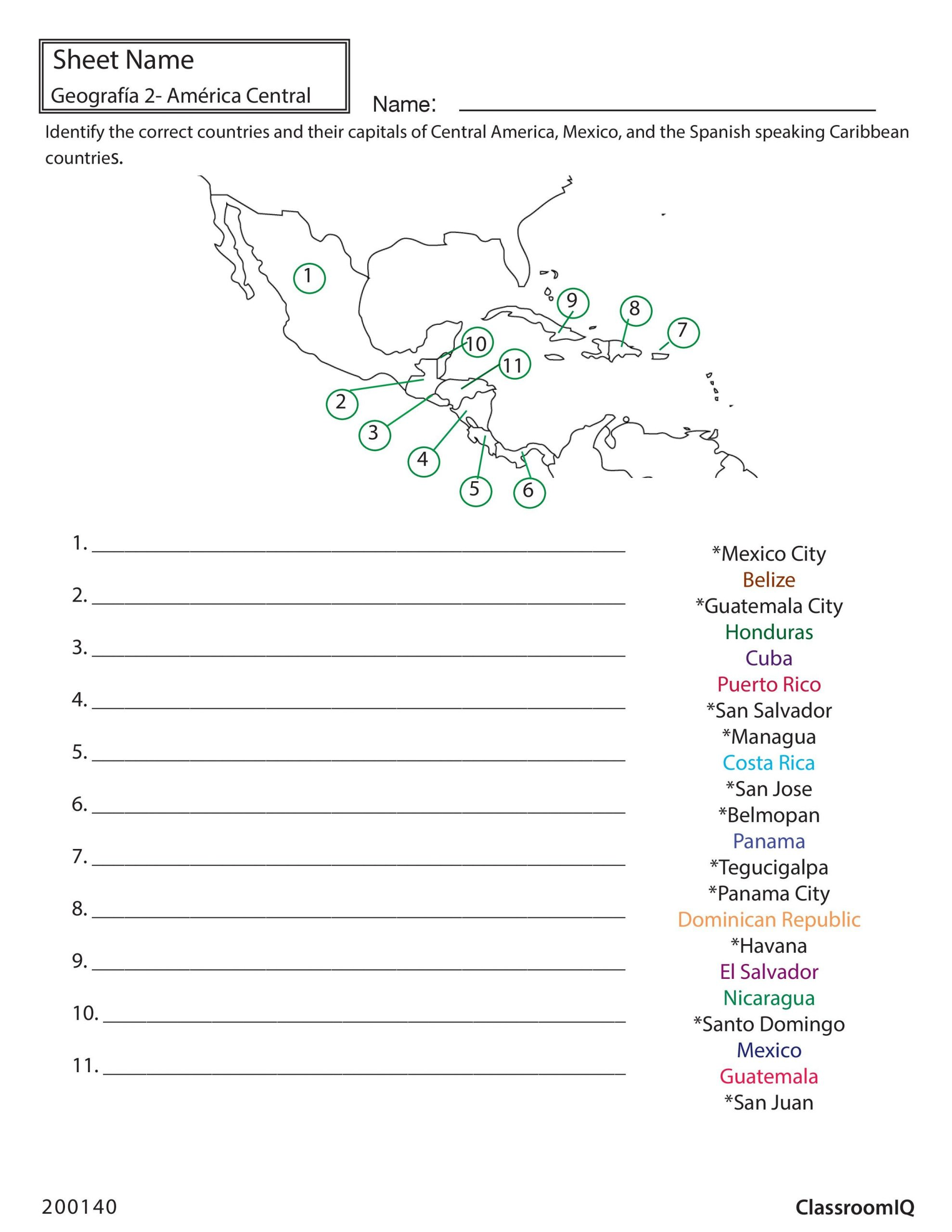 State and Capital Quiz Printable Identify Countries and Capitals Spanishworksheet