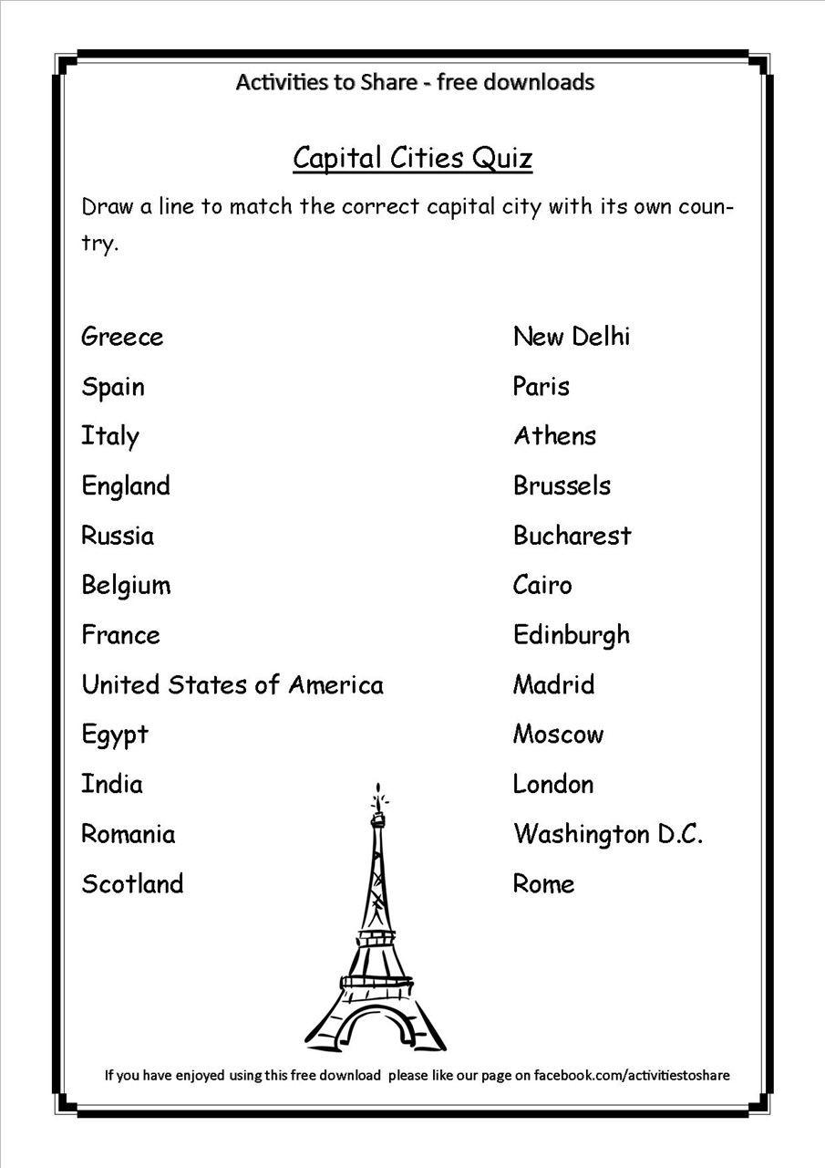States and Capitals Quiz Printable Picture Of Dl34 Capital Cities Quiz
