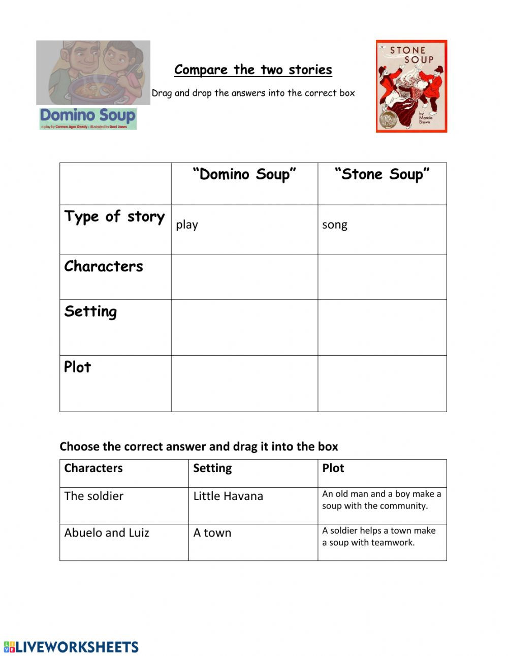Story Elements Worksheets 2nd Grade Pare Stone soup and Domino soup Interactive Worksheet