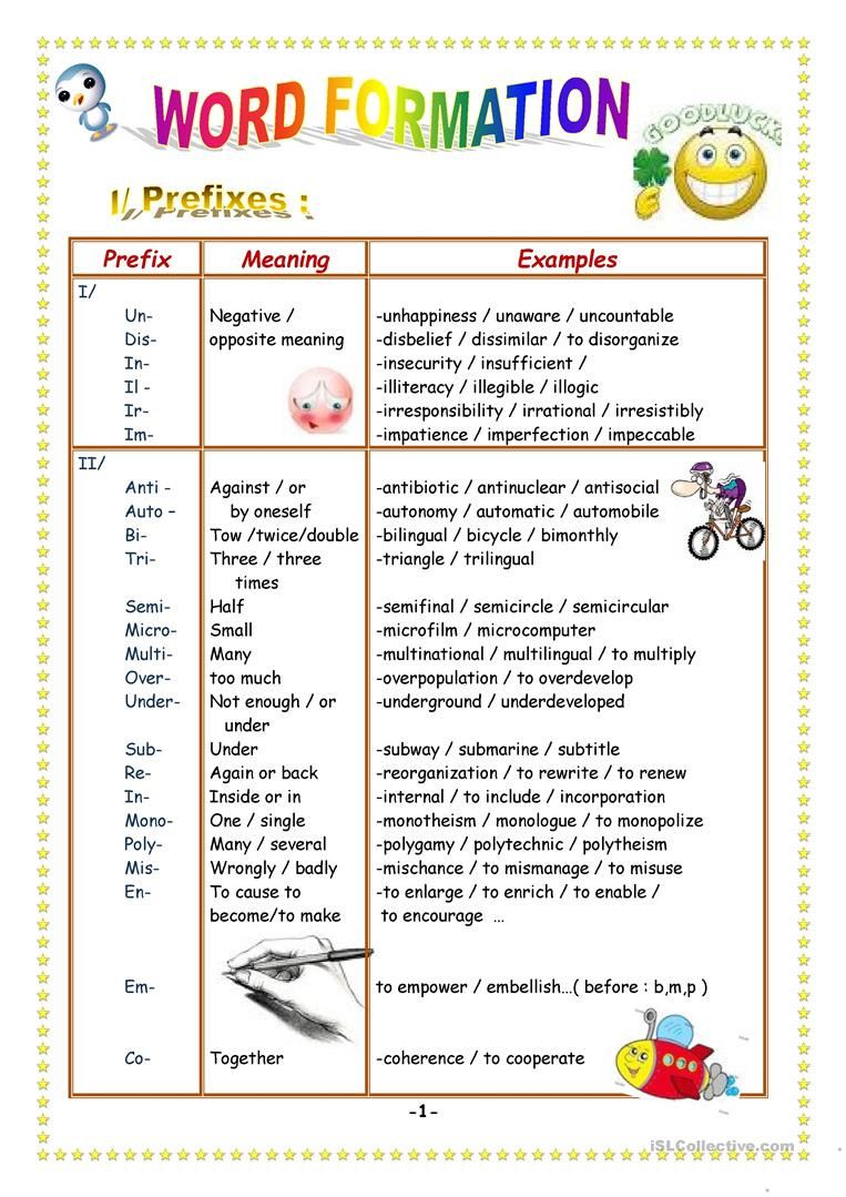 Suffix Worksheets Middle School Prefixes and Suffixes English Esl Worksheets for Distance