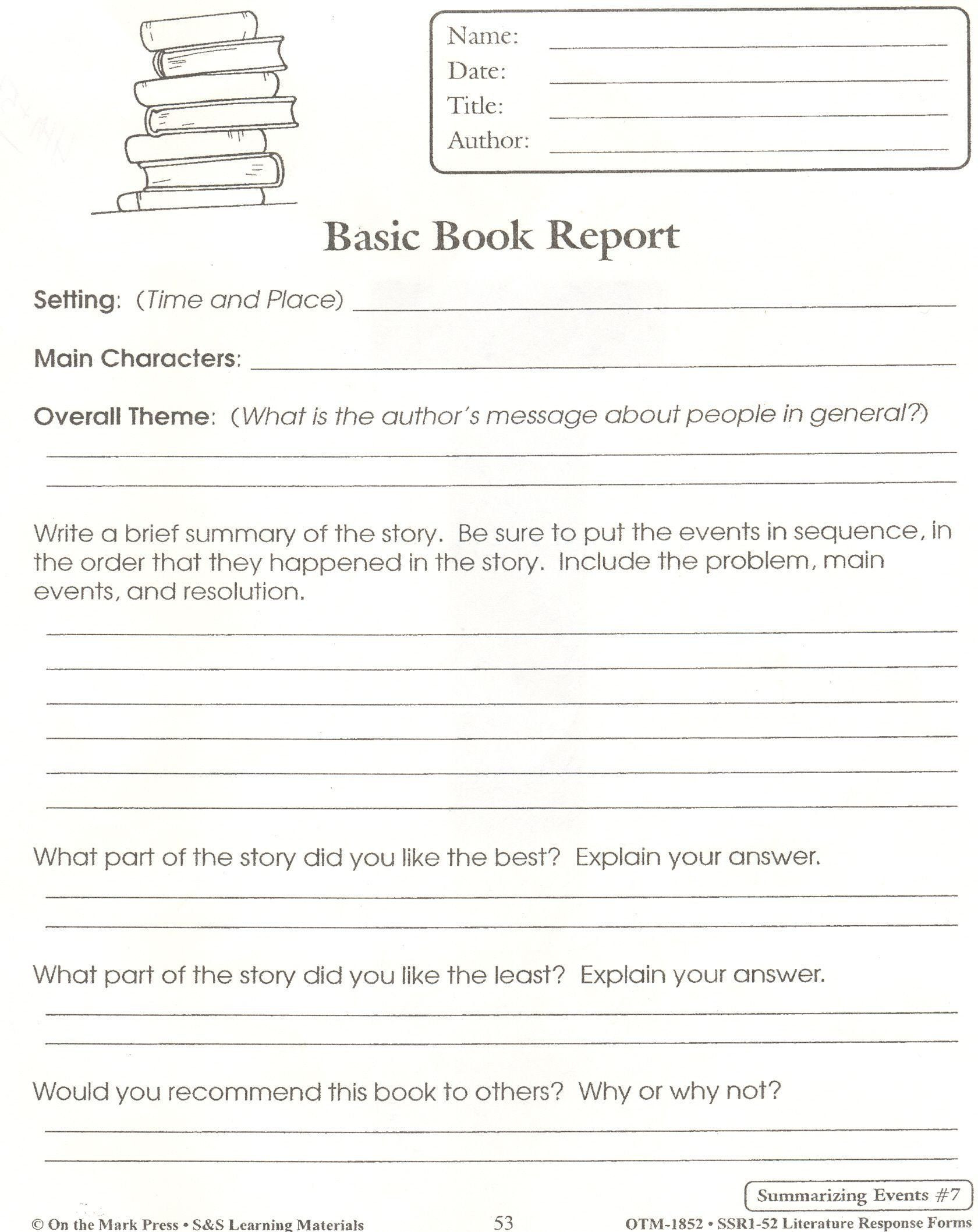 Summarizing Worksheet 4th Grade Pin On 1st Grade Worksheets & Free Printables
