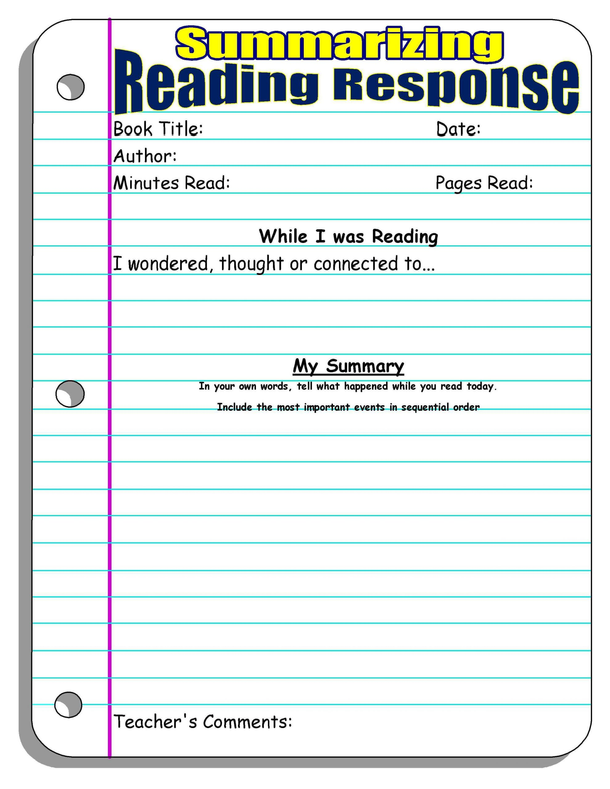 Summary Worksheets 5th Grade Reading Response forms and Graphic organizers