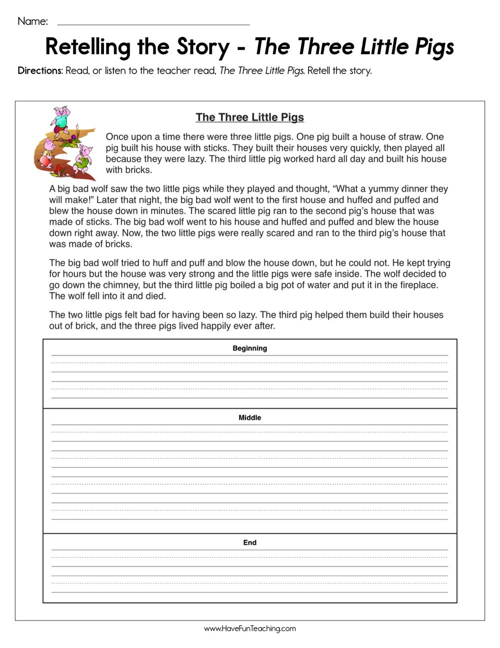 Summary Worksheets 5th Grade Retelling the Story the Three Little Pigs Worksheet