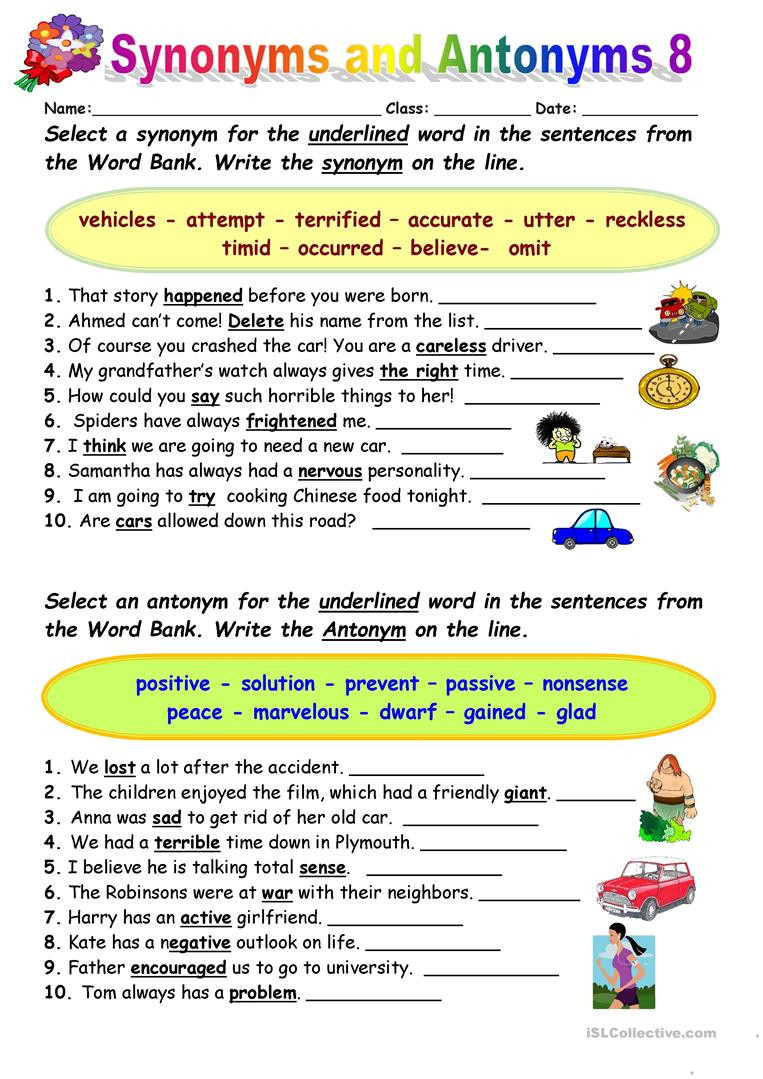 Synonyms Worksheet First Grade Synonyms Vs Antonyms 8 English Esl Worksheets for Distance